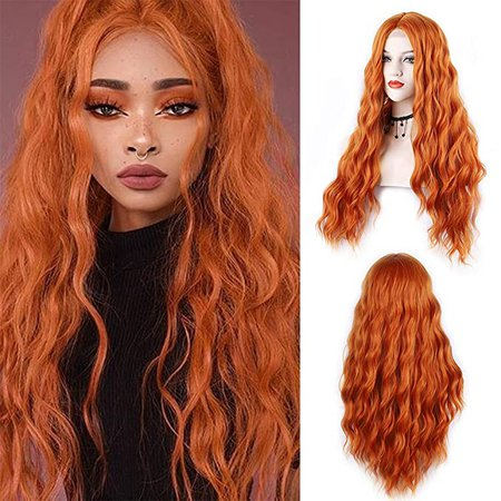 Amazon.com : Orange Wig for Women 28 Inches Long Natural Wave Wig Middle Part Synthetic Hair Wig For Cosplay Daily Use Wig(Orange) : Beauty