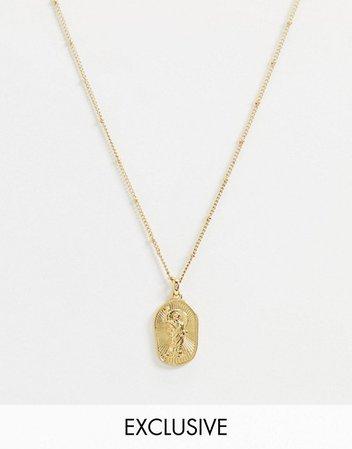 Reclaimed Vintage inspired 14k gold plate goddess of fire necklace | ASOS