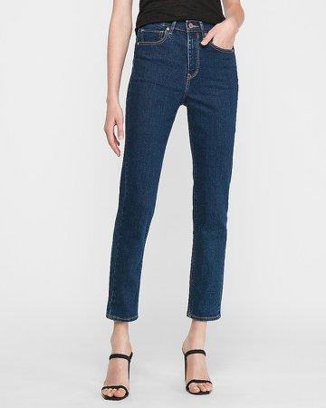 Super High Waisted Dark Wash Mom Jeans