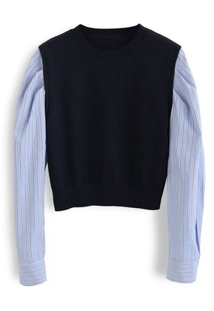 Stripe Sleeves Panel Knit Sweater in Navy - Retro, Indie and Unique Fashion