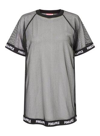 PINEAPPLE Black Fishnet Elastic T-Shirt - Tops - Clothing - Miss Selfridge