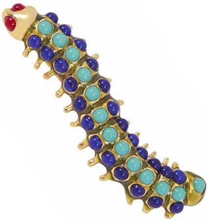 Amazon.com: Kenneth Jay Lane Brooch Caterpillar Brooch Pin Blue: Jewelry