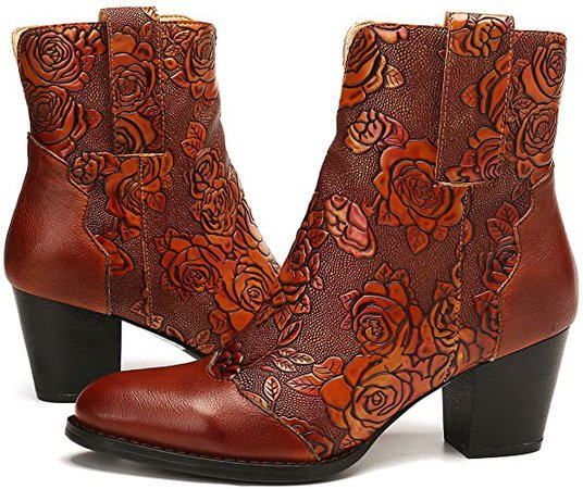Amazon.com | gracosy Block Heel Ankle Booties, Women's Leather Ankle Boots Bohemian Splicing Pattern Side Zipper High Block Heel Ankle Leather Shoes Brown 8 | Ankle & Bootie