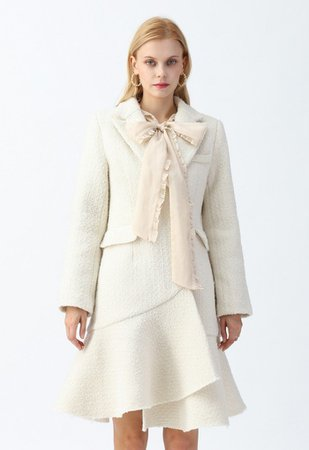 Asymmetric Frill Hem Tweed Coat Dress in White - DRESS - Retro, Indie and Unique Fashion