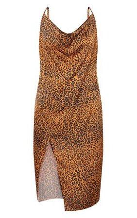 Plus Leopard Print Strappy Satin Cowl Midi Dress | PrettyLittleThing USA