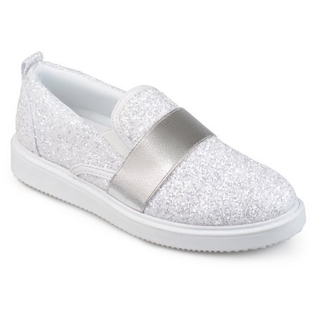 Brinley Co. - Women's Glitter Ribbon Slip-on Sneakers - Walmart.com silver