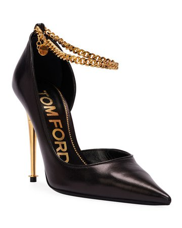 TOM FORD Open-Side Pumps with Chain Strap | Neiman Marcus