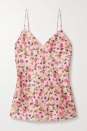 The Raine Floral-print Silk-charmeuse Camisole - Blush