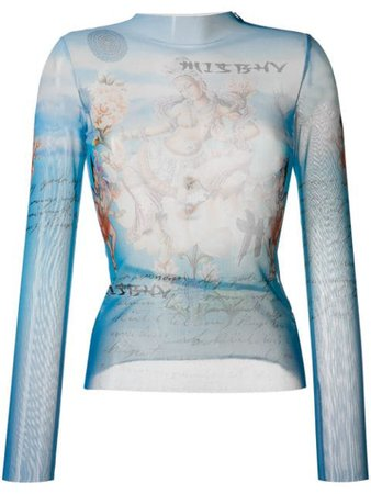 MISBHV Sheer Graphic Print Top - Farfetch