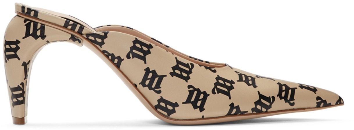 MISBHV Mules beiges et noires Monogram Slicer