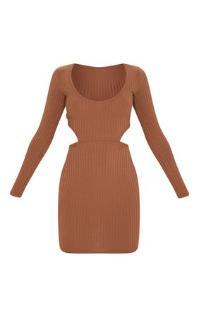 Chocolate Brown Ribbed Long Sleeve Bodycon Dress | PrettyLittleThing USA