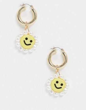 ASOS DESIGN earrings with happy face and faux pearl drop in gold tone | ASOS