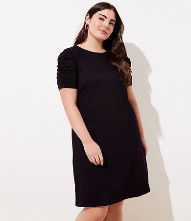 Plus Ruched Sleeve Ponte Dress