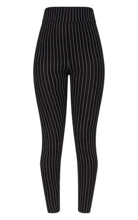 Black Pinstripe High Waisted Leggings | PrettyLittleThing