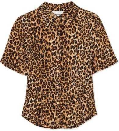Clare Leopard-print Stretch Plissé-jersey Shirt - Leopard print