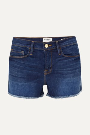 Mid denim Le Cutoff frayed denim shorts | FRAME | NET-A-PORTER