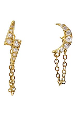 Adina's Jewels Pavé Celestial Chain Stud Earrings | Nordstrom