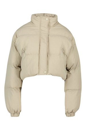Funnel Neck Cropped Puffer Jacket | Boohoo tan