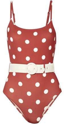 The Nina Belted Polka-dot Swimsuit