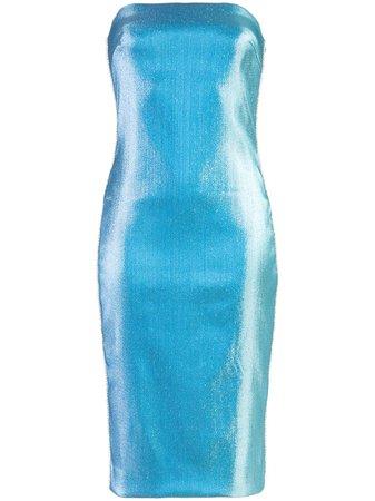 Blue Area Crystal-Trimmed Lamé Dress | Farfetch.com