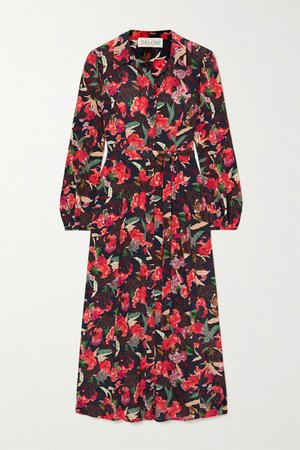 Red Vanessa-B floral-print silk crepe de chine shirt dress | Saloni | NET-A-PORTER