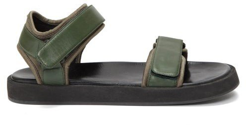 Velcro-strap Leather Sandals - Dark Green