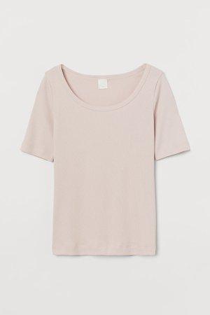Ribbed T-shirt - Pink