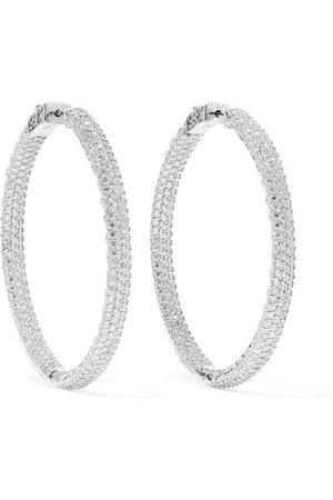 Kenneth Jay Lane | Rhodium-plated crystal hoop earrings | NET-A-PORTER.COM