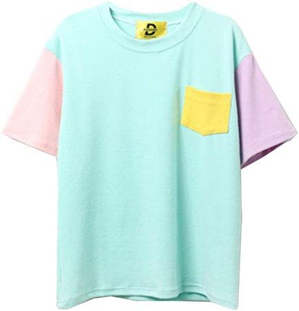 Amazon.com: Women Harajuku Fashion Patchwork Kawaii Summer Top Loose Lovely T Shirt,Green: Clothing
