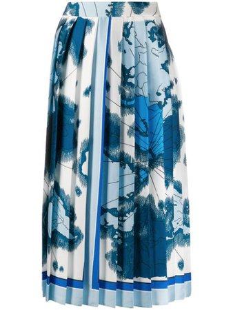 Victoria Victoria Beckham Map-Print Pleated Skirt 2120WSK000635A Blue   Farfetch