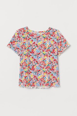 Ribbed T-shirt - Red/floral - Kids | H&M US