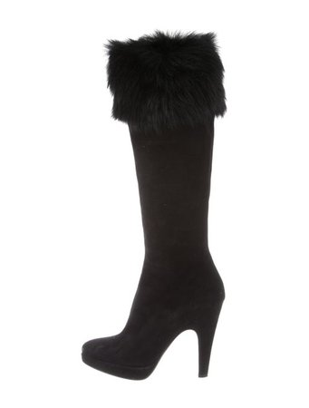 Prada Suede & Faux Fur-Trimmed Boots - Shoes - PRA286588   The RealReal