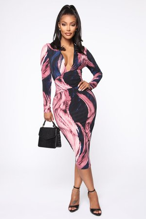Artistic Side Midi Dress - Mauve/Navy - Dresses - Fashion Nova