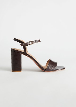 Strappy Block Heel Leather Sandals