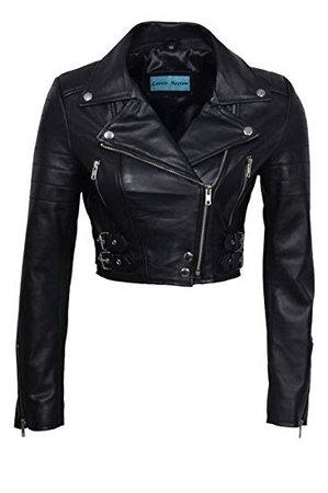 Women's Chic Black Cropped Leather Biker Jacket at Amazon Women's Coats Shop