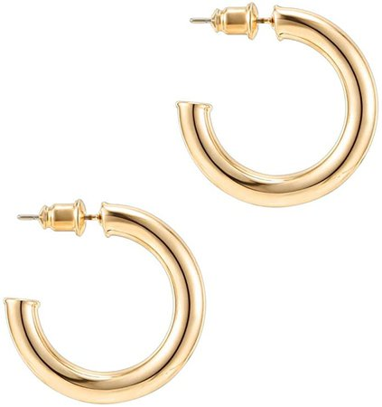 PAVOI 14K Yellow Gold Colored Lightweight Chunky Open Hoops | 30mm Yellow Gold Hoop Earrings for Women: Jewelry