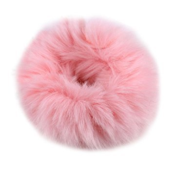FENGLANG 2Pcs Fashion Fluffy Furry Scrunchie Elastic Hair Ring Rope Band Tie (Pink)