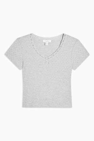 Grey Ribbed Crop Lace Trim T-Shirt | Topshop