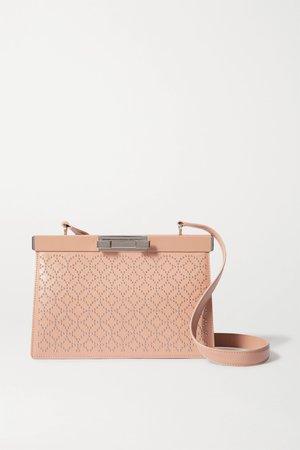 Beige Cecile studded leather shoulder bag   Alaïa   NET-A-PORTER