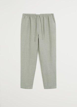 Straight linen-blend pants - Women | Mango USA grey