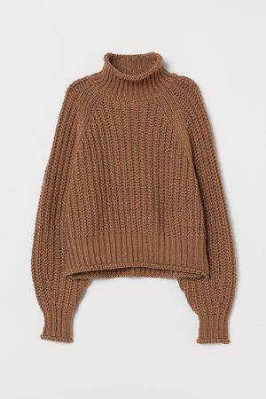 Ribbed Turtleneck Sweater - Dark beige - Ladies | H&M US