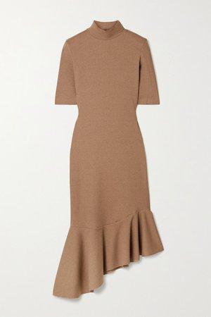Asymmetric Ruffled Ribbed-knit Midi Dress - Tan