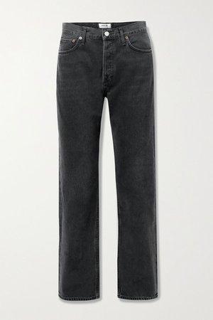 Black Lana mid-rise straight-leg jeans | AGOLDE | NET-A-PORTER