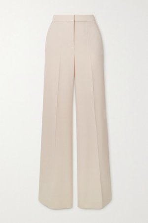 Crepe Wide-leg Pants - Cream