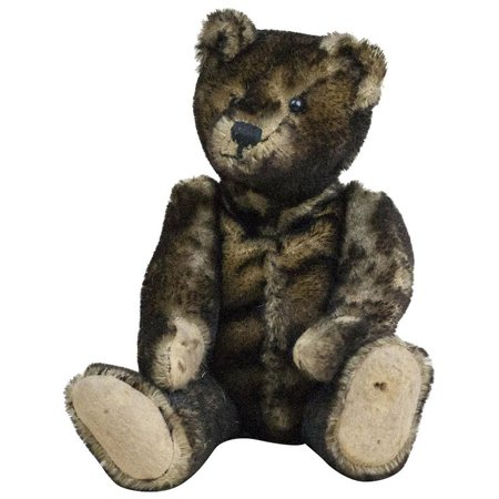 1910s Antique Black Tipped Mohair Teddy Bear with Shoe Button Eyes 12 : Fun City   Ruby Lane