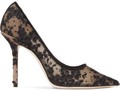 Love 100 Swiss-dot Tulle And Corded Lace Pumps - Black