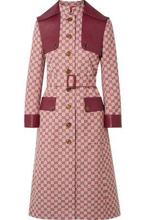 Gucci | Leather-trimmed belted cotton-blend canvas trench coat | NET-A-PORTER.COM