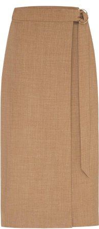 Anna Quan Nicolette Wool-Blend Wrap Skirt