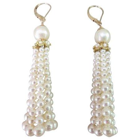 Marina J. 14 Karat Yellow Gold Cultured Pearl Tassel Earrings