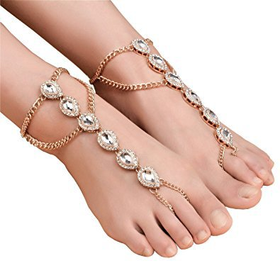 SUNSCSC Beach Anklets Foot Jewelry Barefoot Sandals Bridal Wedding Bangles Pool Party Accessories Set
